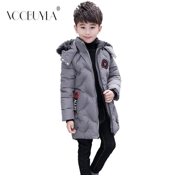 Voobuyla -30 Degrees Boys Cotton Long Thicker 2018 New Children's Clothing Cotton Parkas Jacket Winter Hooded Down Coat