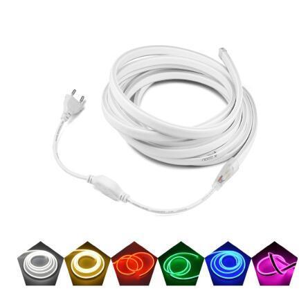 Tubo de neón Luces LED 1M-10M Strip Tape con enchufe de alimentación Letrero de neón Colorido Rainbow Led Light for Kids Room Xmas Home Decoración de pared