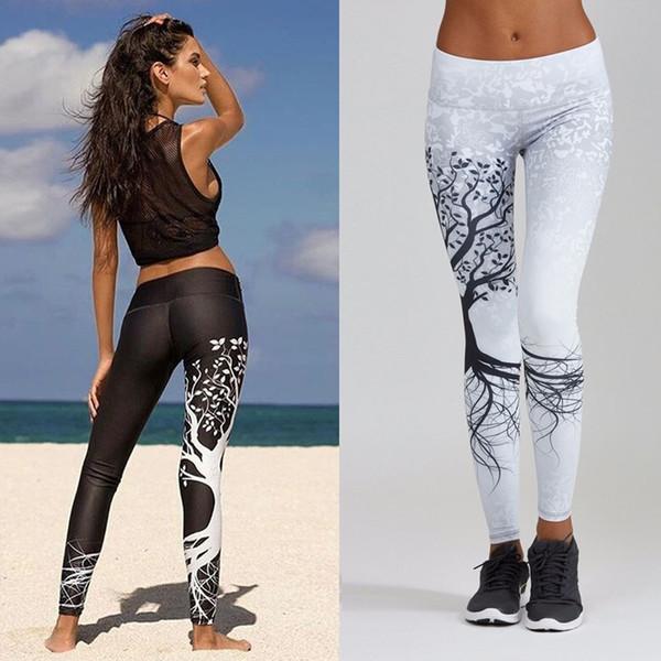 Cintura alta deportes leggings pantalones de yoga fitness Impresión digital gran árbol cadera ejercicio fitness elástico deporte lápiz pantalones pantalones # 256447