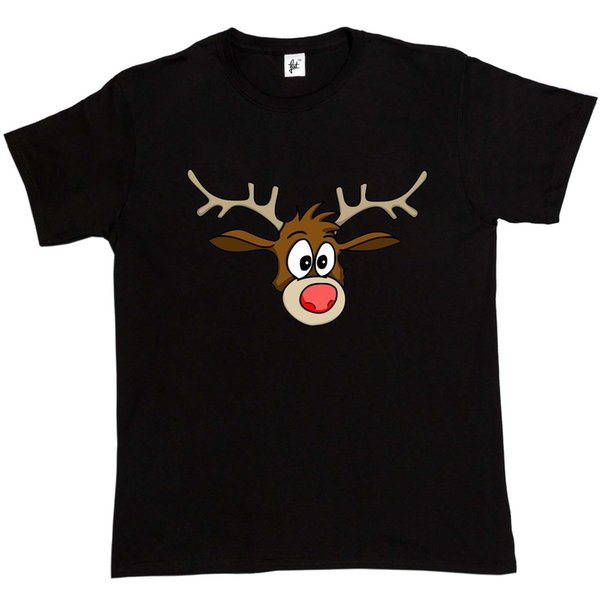 Close up Of Rudolph the Red Nose Reindeer Mens T-Shirt Brand shirts jeans Print Classic Quality High t-shirt