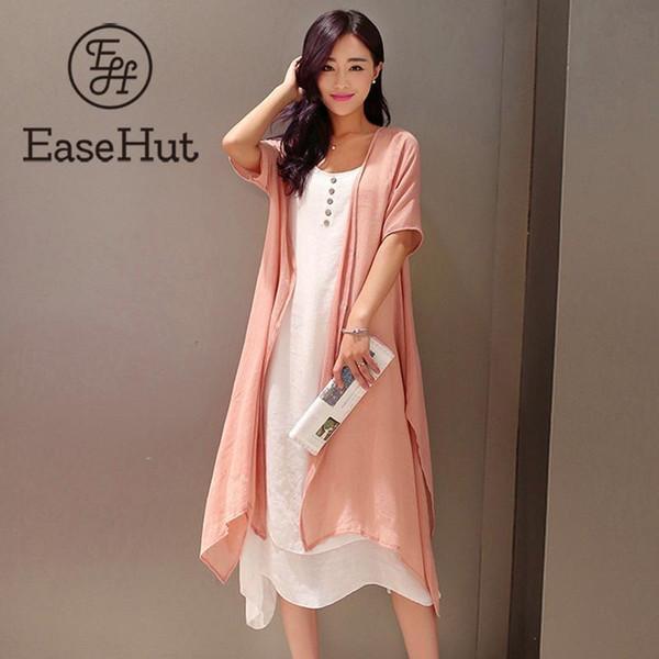 Easehut Elegant 2 Piece Boho Plus Size Dress Literary Style Cotton Linen Beach Holiday Midi Loose Summer Dress 2019 Vestidos J190530