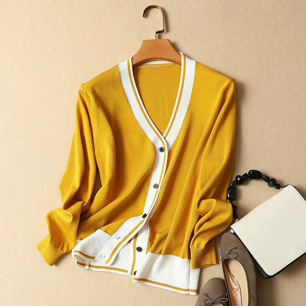 2018 summer new women loose cardigan silk knitted fashion sweater outwear coat tops