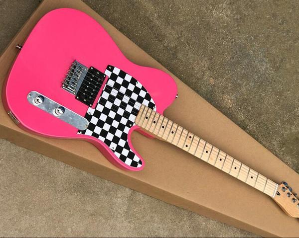 Livraison gratuite vente chaude! corps rose guitare électrique avec manche en érable, pickguard carré, offrant des services personnalisés que vous demandez