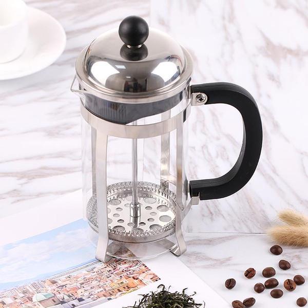 Edelstahl Französisch Kaffeekanne Haushaltsgebrauch Tragbare Teefilter Glas Kaffeemaschine Werkzeugmaschinen drücken Kolben QQA212