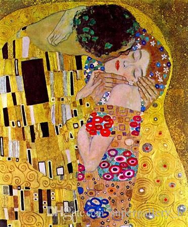 The Kiss by Gustav Klimt Handpainted & HD Print Famous Abstract Oil Painting On Canvas Wall Art Home Deco Free Shipping p187
