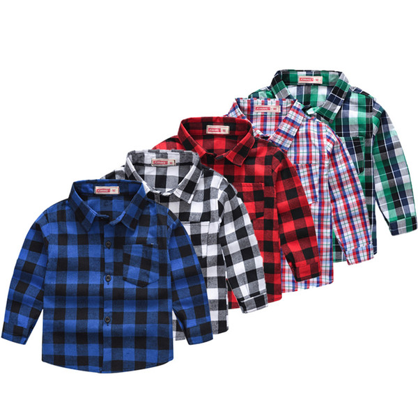 top popular Boys Plaid Casual Shirts 13 Colors Long Sleeve Single Breasted Shirts England Style Spring Autumn Kids Clothes Boys Tops 1-7T 04 2021