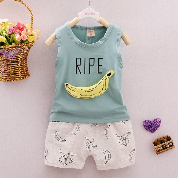 MUQGEW Banana Print Toddler Infant Girls Sets Newborn Infant Baby Girls Boys Letter Print Vest Shorts Outfits Clothing Sets