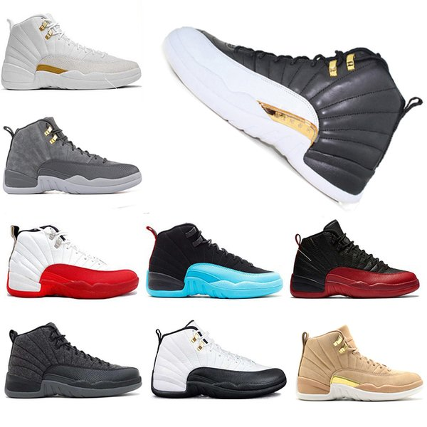 12 XII basketball shoes wings Flu Game og GRAND wolf grey Gym red taxi wool gamma blue master outdoor sports man designer