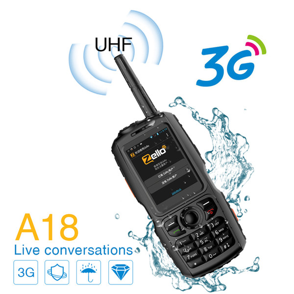 A18 Zello 3G Walkie Talkie UHF Su geçirmez Akıllı Telefon Android Çift Yönlü Telsiz GPS WCDMA Cep telefonu