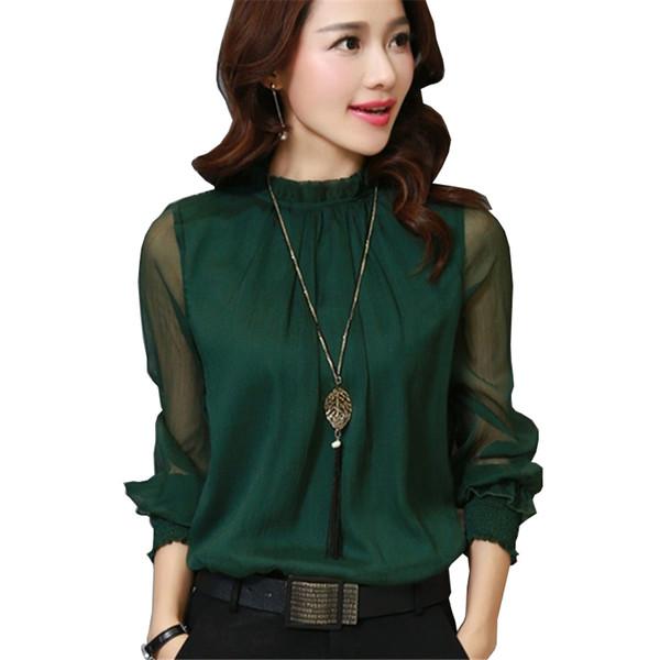 2017 Moda Primavera Otoño Blusa de Gasa Nuevo Coreano Casual Ruffle Shirt Camisa de manga larga de las mujeres camisas Tops Plus Size Blusas