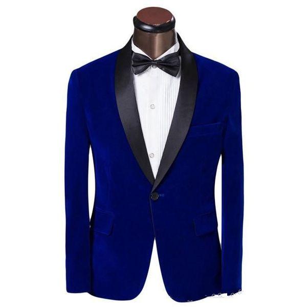 Royal Blue Velvet Mens Wedding Tuxedos Black Lapel Groom Groomsmen Tuxedos Man Blazers Jacket Excellent 2 Piece Suits(Jacket+Pants+Tie) 1781