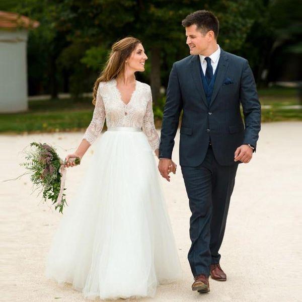 A-Line Lace Garden Wedding Dresses 2020 New Vestido De Novia Sweep Train Backless V-Neck 3/4 Long Sleeve A-Line Tulle Bridal Gowns W208