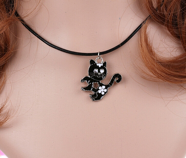 Animal Enamel Black Cat Charms Vintage Silver Choker Collar Statement Necklace Pendant DIY Jewelry Women Clothing Accessories HOT