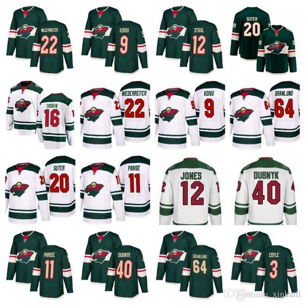 Männer Frauen Kinder Minnesota Wild Jersey 22 Niederreiter 40 Devan Dubnyk 11 Parise 64 Mikael Granlund 3 Coyle 9 Koivu Eishockey-Trikots