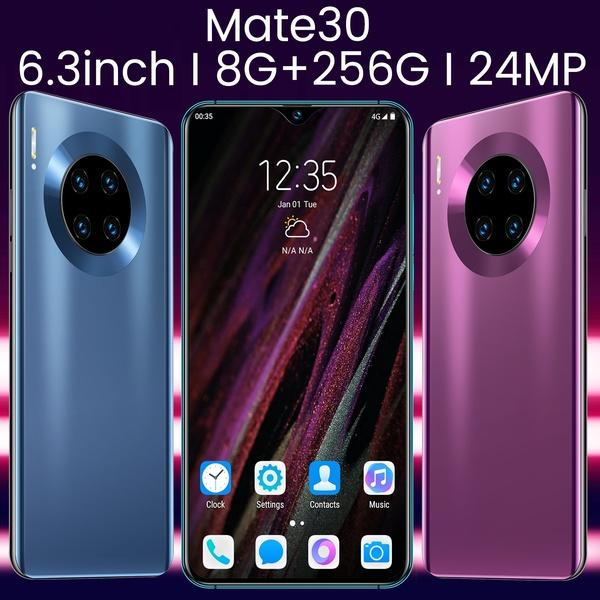 best selling Android Smartphones Mate30 Smartphone 6.3 Inch Mobielphone 4G Dual SIM Cards Support T Card (8GB RAM+256GB ROM+Free Gift 128GB TFCard