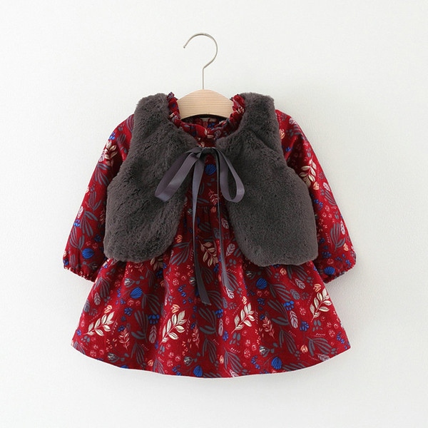 Baby Mädchen Kleid Weste Herbst Warme Baumwolle Kleinkind Blumendruck Europäischen Stil Vintage Langarm Winter Kleinkind Kleider Geburtstag Baby Kleidung