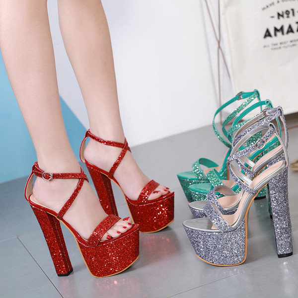European Style Women's Shoes Fashion Female Sandals Sequins Thick Heels Sexy High Heels 17.5cm with Platform 7.5cm Sexy Pumps