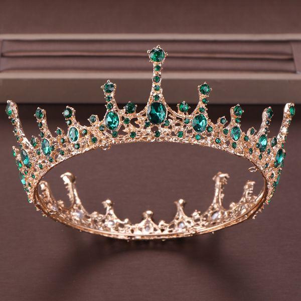 Green Crystal Tiara Crown For Bride Headpiece Hair Accessories Round Queen Diadem Crystal Wedding Crown Bride's Tiaras