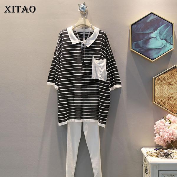 XITAO Hit Color Striped Свитер Женская одежда 2019 Tide Тонкий карманный трикотажный топ-матч Все пуловеры с половиной рукава Новый WQR1432