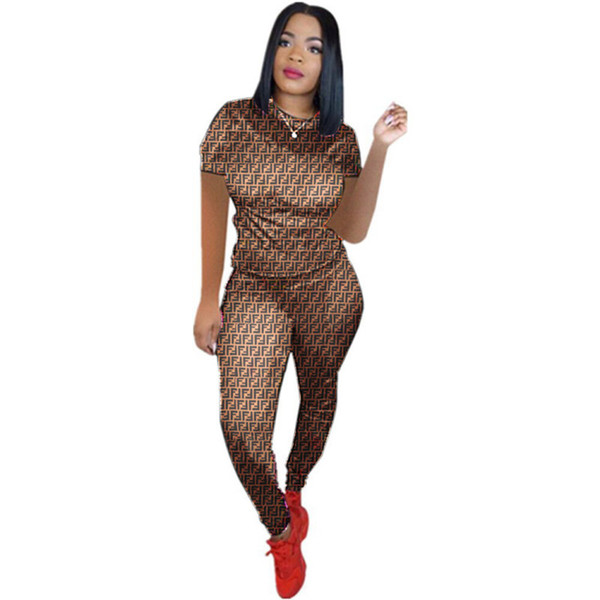 Women F Letter Print Tracksuit Summer Short Sleeve 2piece Outfit Round Neck T-shirt + Pants Leggings Summer Casual Sports Suit Brown A432