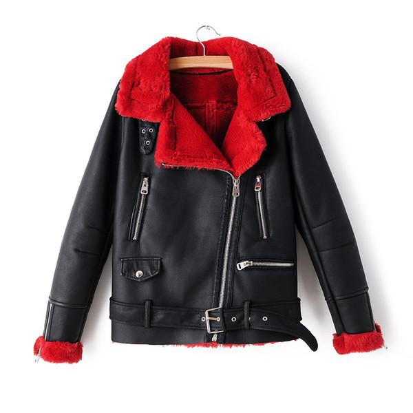 Neue Ankunfts-Winter-Vlies-Kunstleder-Jacken 2019 Mode Motorrad Frauen Red starke warme Wildlederjacke Female Beflockung Mäntel