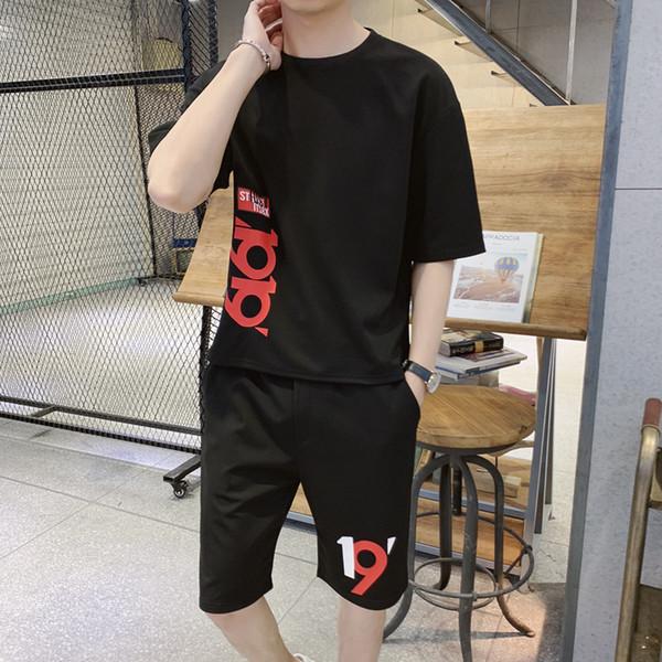 Bumpybeast 2019 yaz tshirt setleri erkek moda Eşofman mektubu baskı t gömlek + kısa Iki Adet Setleri artı boyutu 5XL