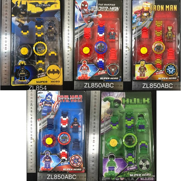 Juguetes para niños Niños Niños Aparatos electrónicos Juguetes Reloj Regalo de cumpleaños rotar figura Marvel Avengers car lol