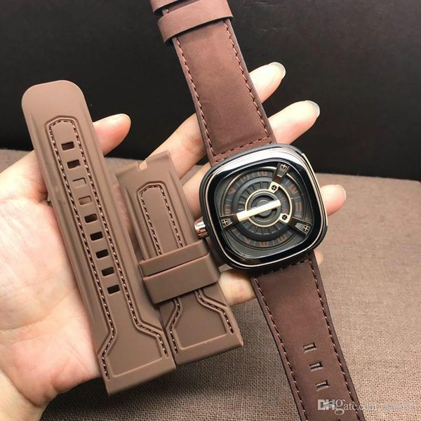 Sf-m2 /02 hot style brand watch Miyota82S7 mechanical movement thickened mineral glass top layer leather strap 47*13mm