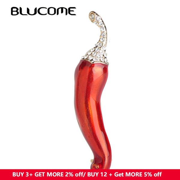 ashion Jewelry Brooches Blucome Vivid Green Pepper Brooch Chili Vegetables Brooches For Women Girls Suit Dress Accessories Gold Color Pin...