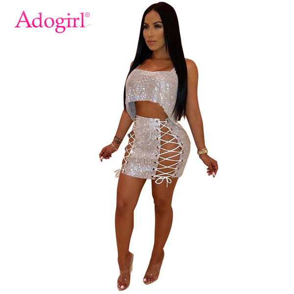 adogirl women sequins two piece set dress spaghetti straps irregular loose crop + grommet lace up bodycon mini skirt outfits