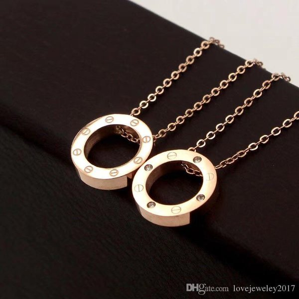 316L Titane Acier Rose Or Vis Cercle Pendentif Colliers pour Femmes Argent 18K Or Collier Rond avec diamant Choker Mode Bijoux