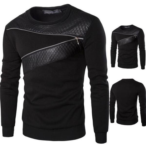 Wholesale Men Leather Patchwork Hoodies Mens Ublique Zipper Decoration Sweatshirt Mens Casual Slim Coat Fashion Men's Clothes Hoodies
