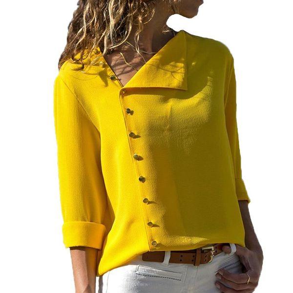 moonlight710 / Verão Moda Botão Amarelo Camisa Branca Mulheres Tops de Manga Longa Blusas Túnica Escritório Chemise Para Roupas Feminin