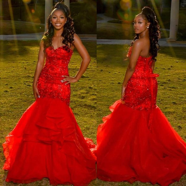 Red Mermaid Prom Dresses Sweetheart Lace Appliques Ruffles Black Girls Evening Party Gown Floor Length Special Occasion Dresses DP0286