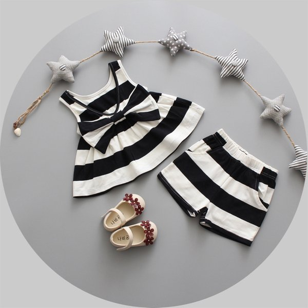 2PCS girls summer clothing set kids girl striped bow vest dress and short set baby casual clothes toddler outfit children 1-3T