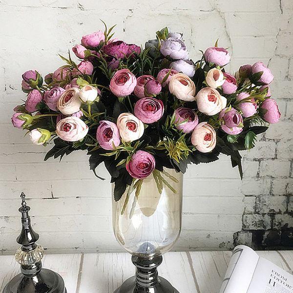 9heads Mini Silk Artificial Flowers Peony Flores Fleur Artificielles Camellia For Home Christmas Decoration Fake Flower Bouquet