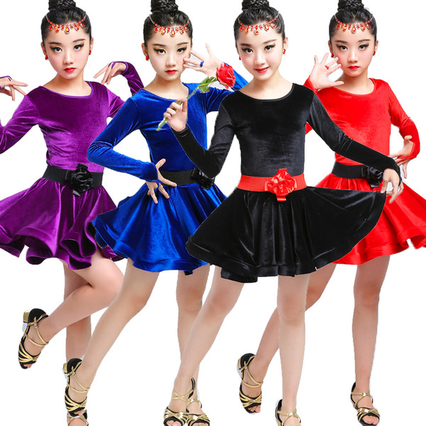 New Children's Latin Dance Suit Girls Leotard Dancing Costume Kids Autumn Rumba Dance Suit Girls Ballroom Dresses