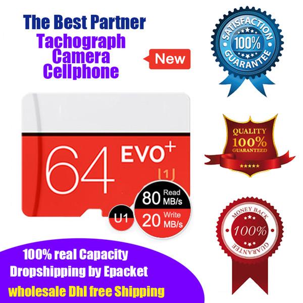 64 gb EVO Plus U1 C10 Cartão de Memória Class10 Micro Sd TF Cartão UHS-I HD 100% Real Capacidade Microsd Epacket DHL grátis