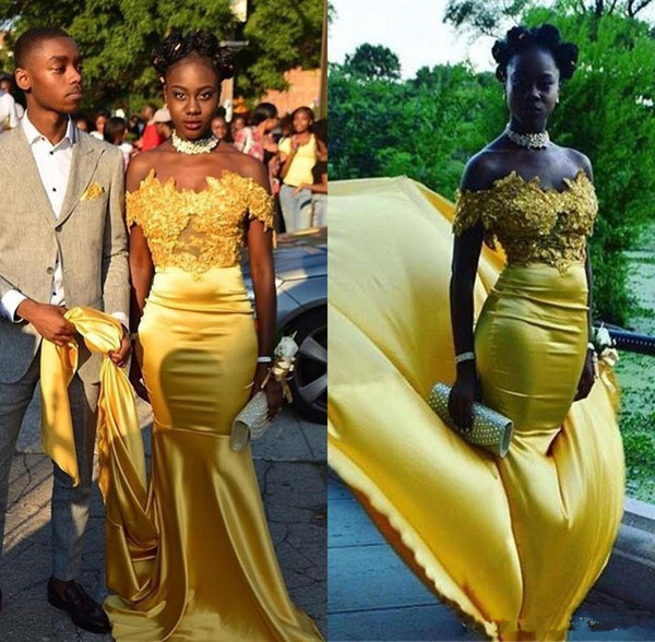 Black Girls Yellow Mermaid Prom Dresses 2019 Off Shoulders Lace Appliques Formal Evening Party Gowns South African Dresses Custom