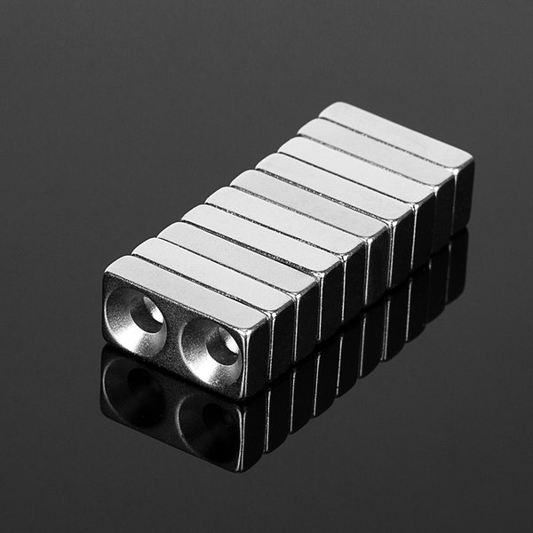 10PCS 20x10x3.5mm Double 4mm Hole Neodymium Magnets Rectangular N52 Super Strong Rare Earth Permanent Magnet 20*10*3.5mm