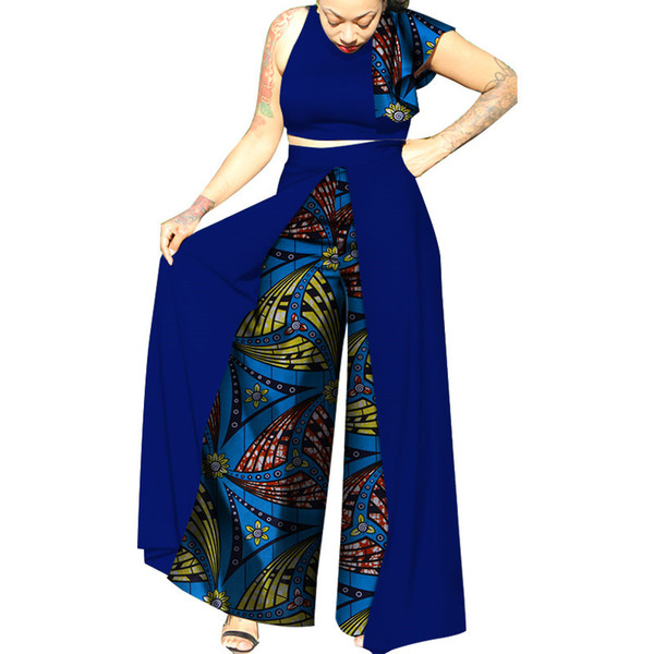 New Summer Patchwork Top and Skirts Sets African Wax Print Clothes for Women Bazin Riche Dashiki African Style Clothing WY3312