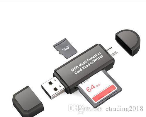 Todo en uno Lector de tarjetas de memoria multifunción MINI USB 2.0 OTG Adaptador de lector de tarjetas Micro SD TF para PC Ordenador portátil Negro blanco