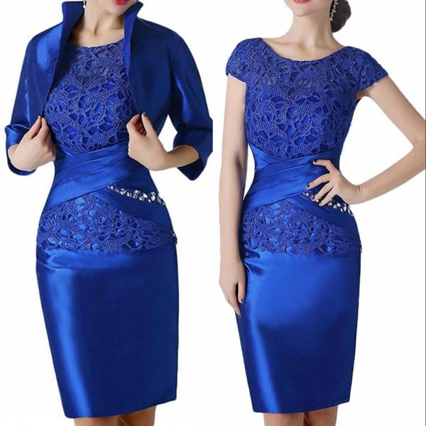 Laço Azul Royal Curto Mãe dos Vestidos de Noiva Traje Formal Com Envoltório Convidado Do Casamento Vestido de Noite Vestido Vestidos