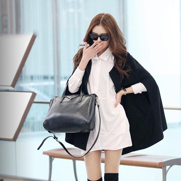 Женщины Леди плащ пончо пальто Сыпучего способ Outwear средней длиной одежда для зимних S55