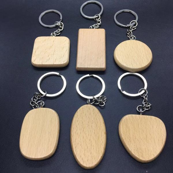 la moda di legno keychain in bianco portachiavi in legno Ciondolo auto Una varietà di forme Forniture rotonda cuore piazza Portachiavi partito T2C5131