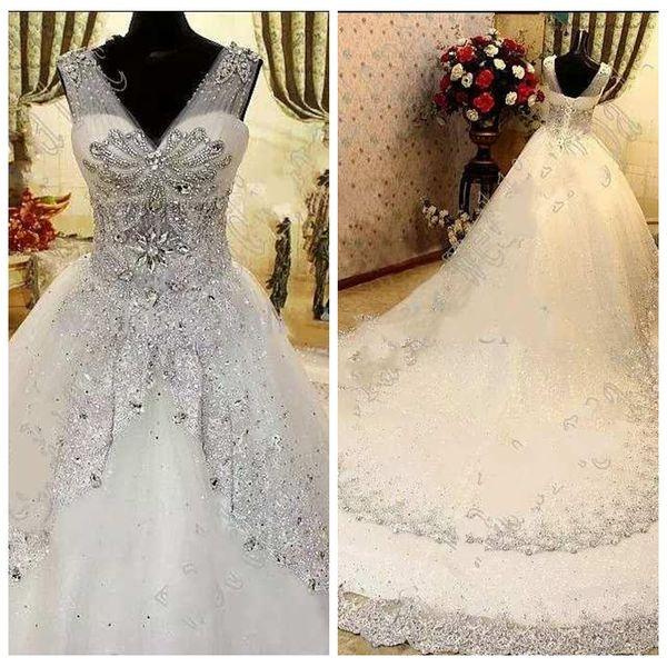 Luxurious Wedding Dress Elegant Ball Gown Wedding Dresses Heavy Handwork Crystal Court Trainl Wedding Dress Bridal Gown robe de mariée