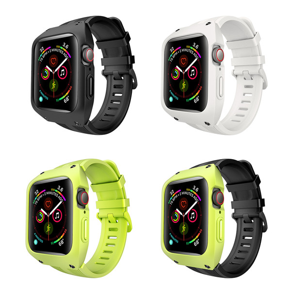 Soft Silicone Sport Bracelet Strap with Case for Apple Watch Band 4 Wristband Case Cover Replacement Protective For IWatch 44mm Accessorie