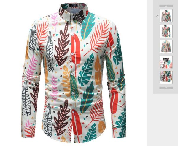 Spring and Autumn New Fish Bone Leaf Printed Long-sleeved Shirt for Men's Dress Printed Fashion Long-sleeved Shirt
