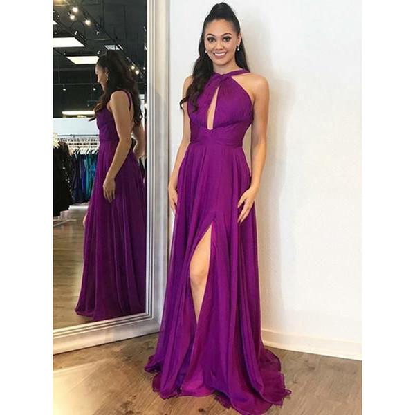 Compre Sencillos Vestidos De Fiesta Largos Violetas 2019 Nueva Sin Mangas Dividida Longitud Del Piso Lateral Gasa Vestido De Noche Formal Vestidos De