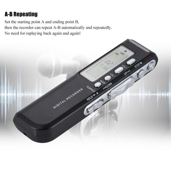 8GB Digital Audio Voice Phone Recorder Dictaphone MP3 Music Player Voice Activate VAR A-B Repeating Loop Digital Recorder
